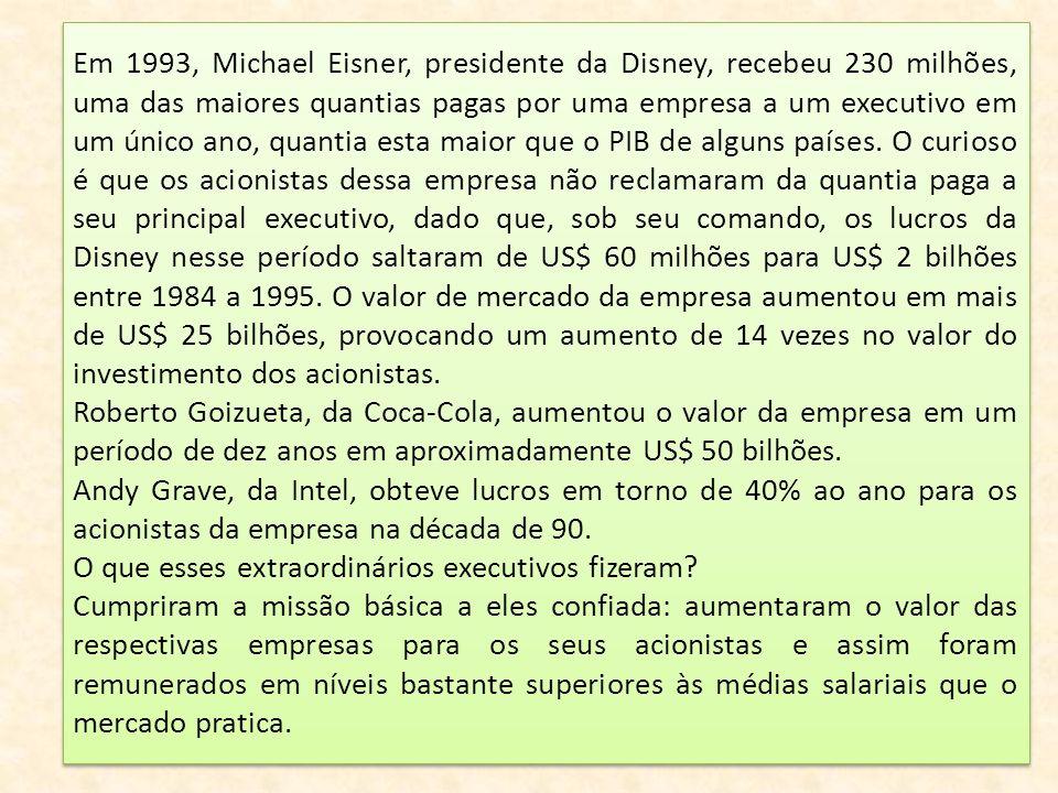 Em 1993, Michael Eisner, presidente da Disney, recebeu 230 milhões, uma das maiores quantias pagas por uma empresa a um executivo em um único ano, quantia esta maior que o PIB de alguns países. O curioso é que os acionistas dessa empresa não reclamaram da quantia paga a seu principal executivo, dado que, sob seu comando, os lucros da Disney nesse período saltaram de US$ 60 milhões para US$ 2 bilhões entre 1984 a 1995. O valor de mercado da empresa aumentou em mais de US$ 25 bilhões, provocando um aumento de 14 vezes no valor do investimento dos acionistas.