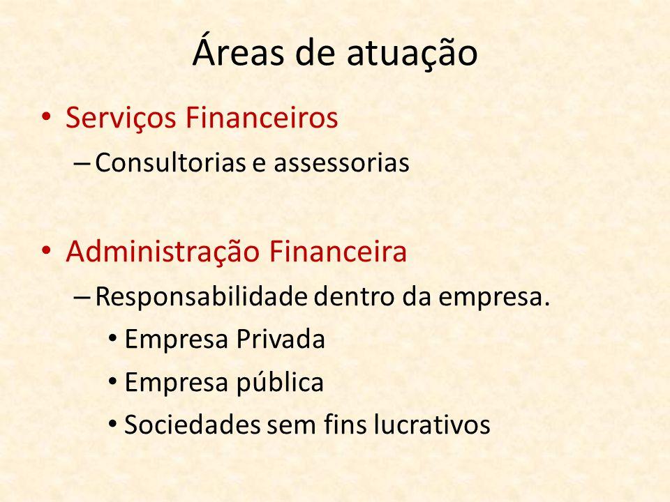 Áreas de atuação Serviços Financeiros Administração Financeira