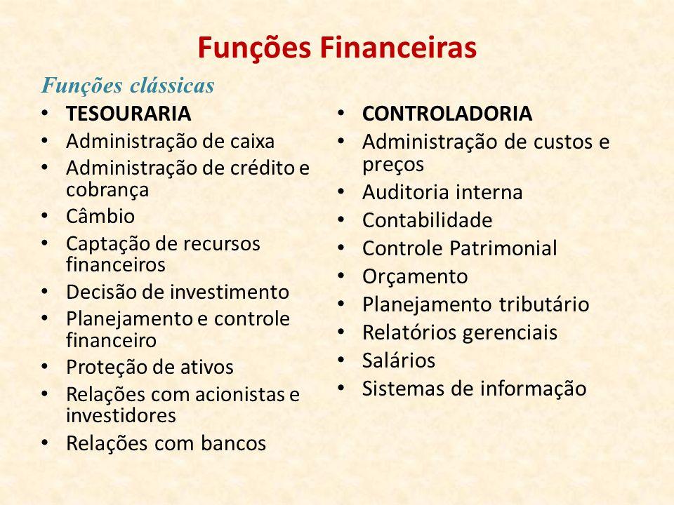 Funções Financeiras Funções clássicas TESOURARIA CONTROLADORIA