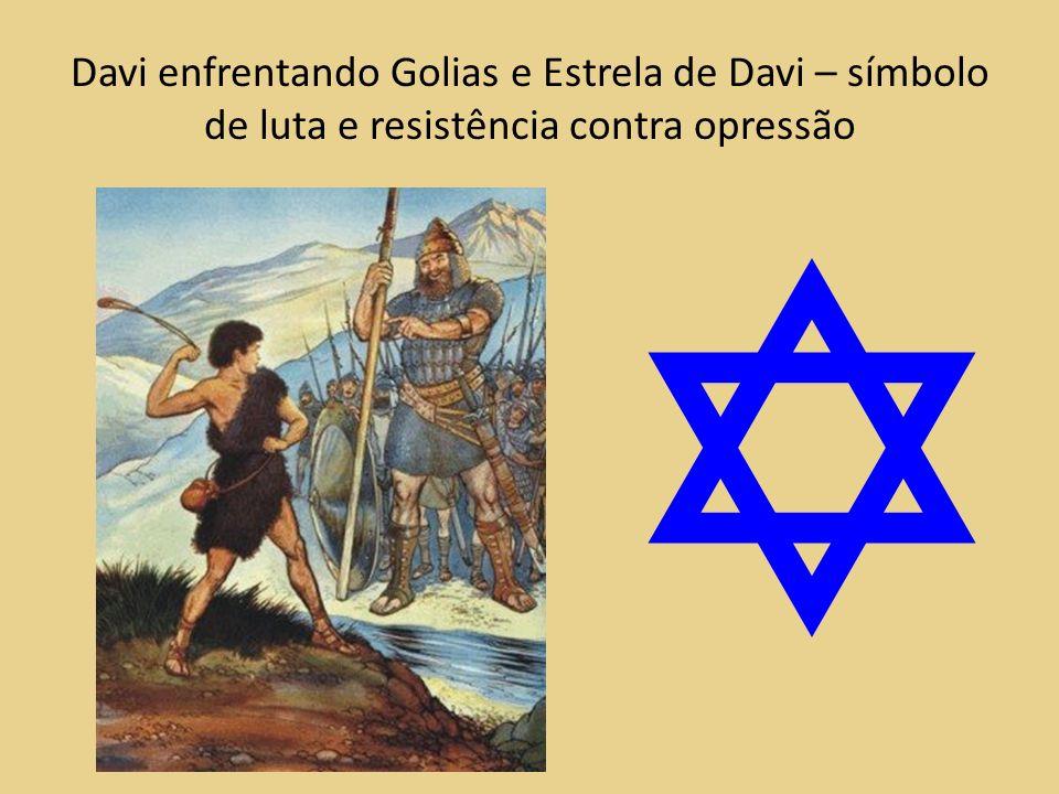 Davi enfrentando Golias e Estrela de Davi – símbolo de luta e resistência contra opressão