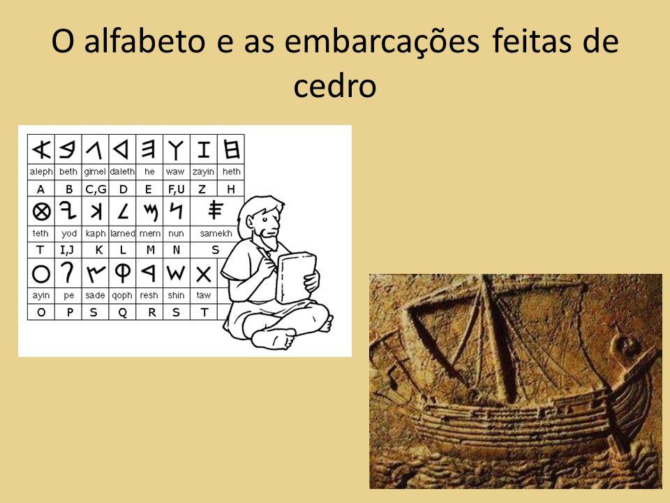 O alfabeto e as embarcações feitas de cedro