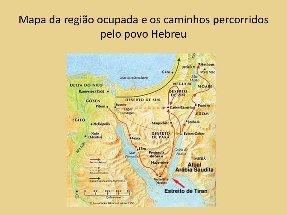 Mapa da região ocupada e os caminhos percorridos pelo povo Hebreu
