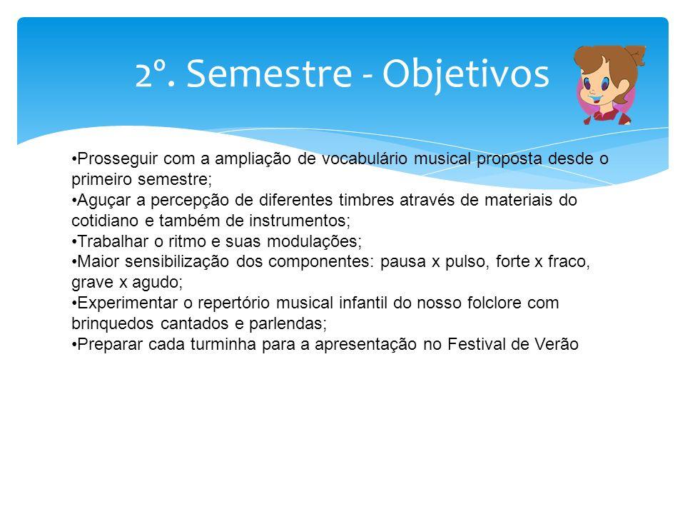 2º. Semestre - Objetivos Prosseguir com a ampliação de vocabulário musical proposta desde o primeiro semestre;