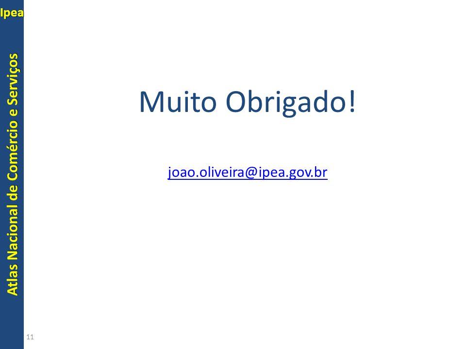 Muito Obrigado! joao.oliveira@ipea.gov.br