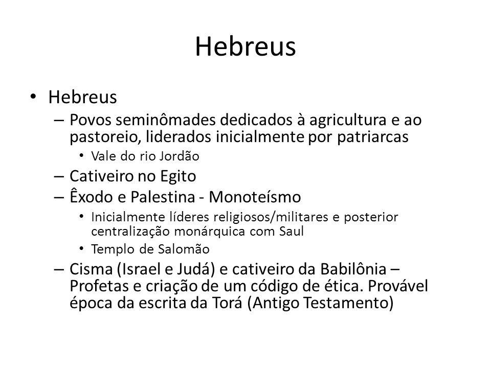 Hebreus Hebreus. Povos seminômades dedicados à agricultura e ao pastoreio, liderados inicialmente por patriarcas.