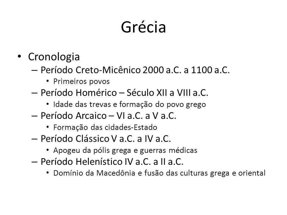Grécia Cronologia Período Creto-Micênico 2000 a.C. a 1100 a.C.
