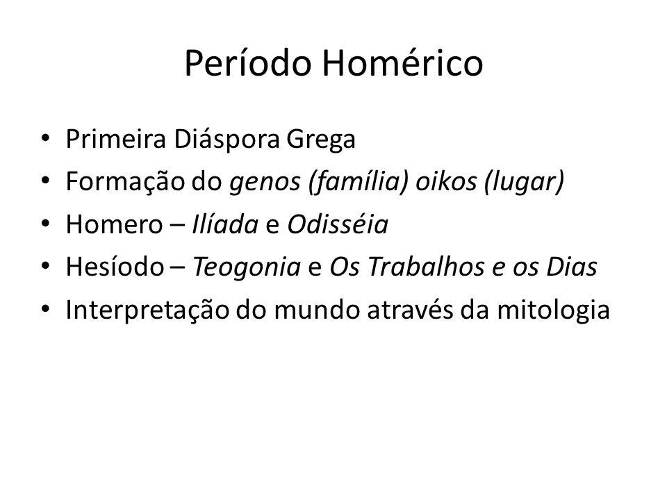Período Homérico Primeira Diáspora Grega
