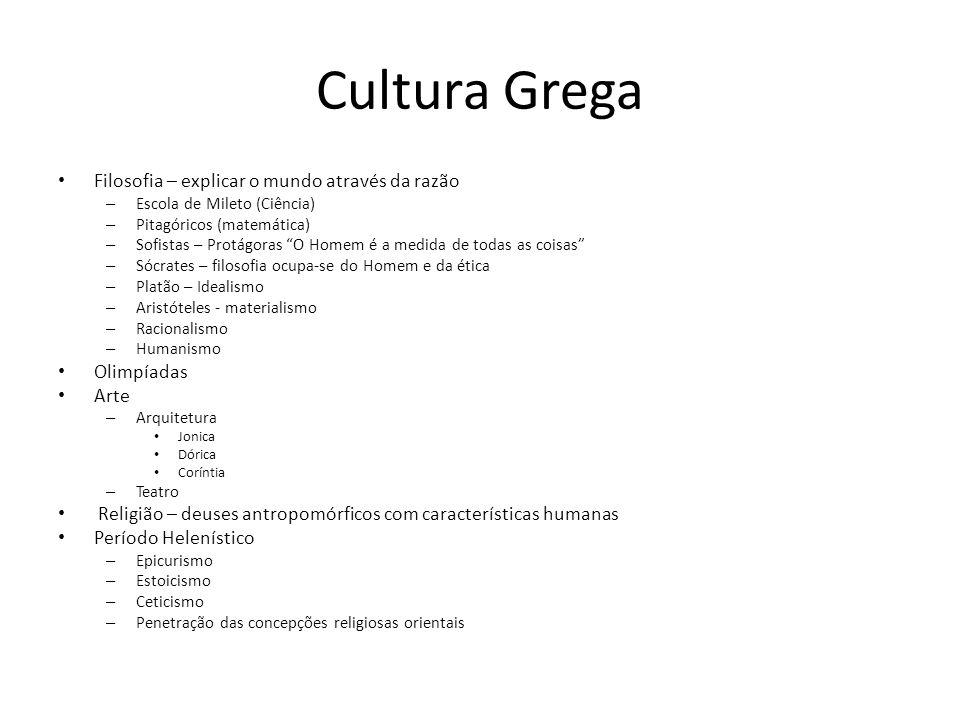 Cultura Grega Filosofia – explicar o mundo através da razão Olimpíadas