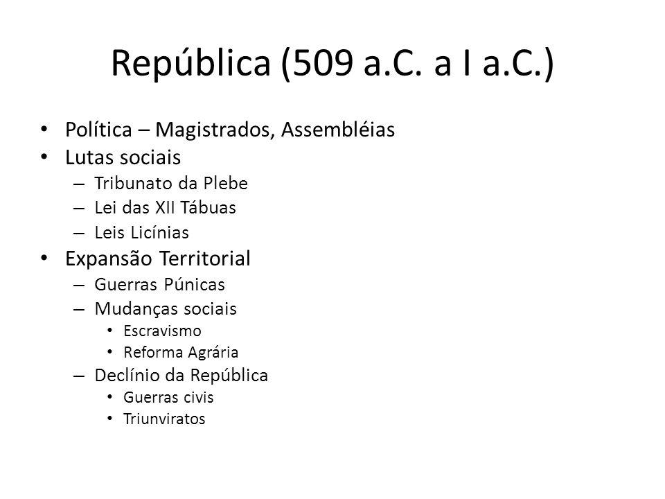 República (509 a.C. a I a.C.) Política – Magistrados, Assembléias