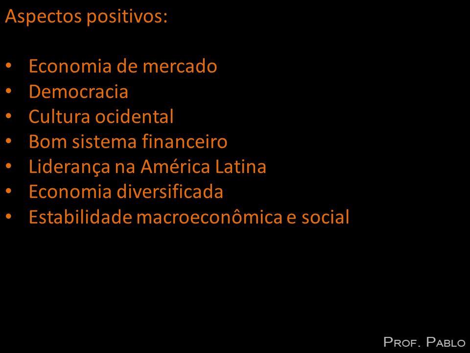 Aspectos positivos: Economia de mercado. Democracia. Cultura ocidental. Bom sistema financeiro. Liderança na América Latina.
