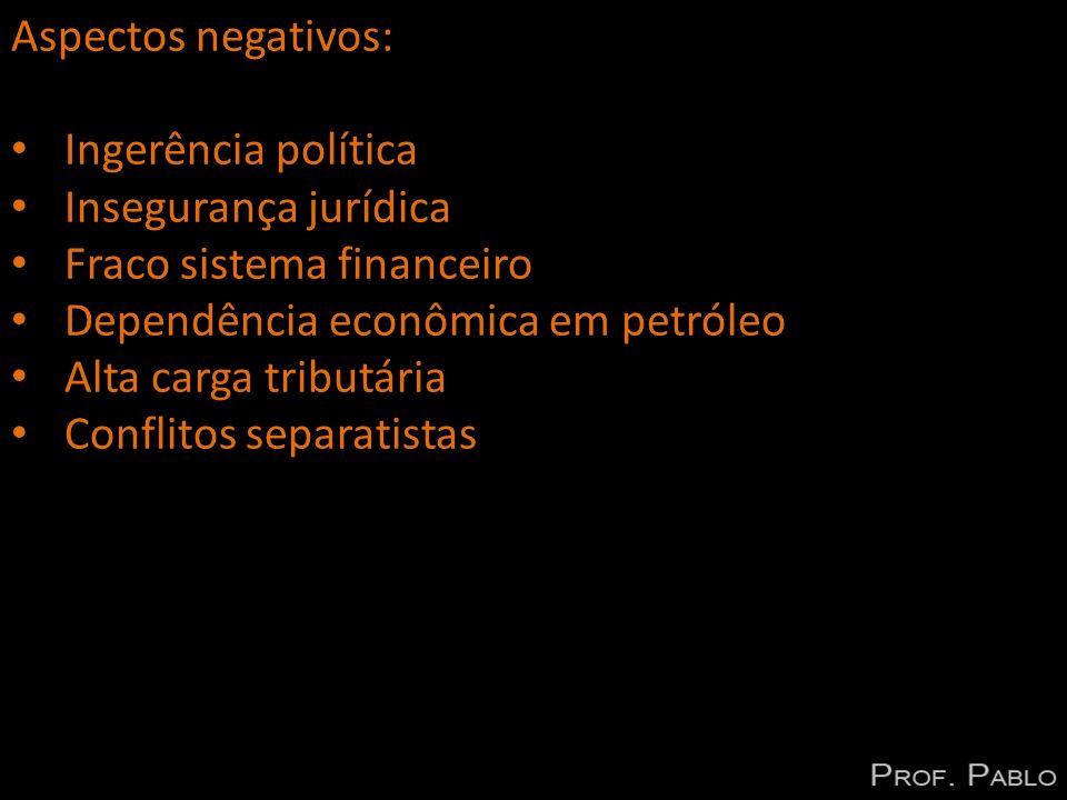 Aspectos negativos: Ingerência política. Insegurança jurídica. Fraco sistema financeiro. Dependência econômica em petróleo.