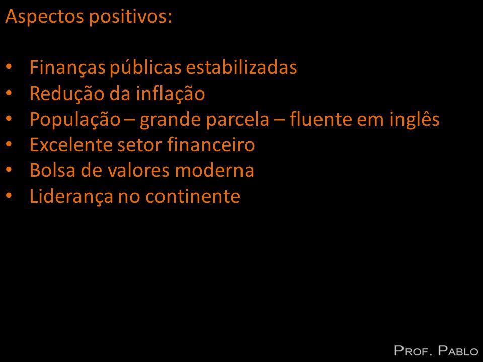Aspectos positivos: Finanças públicas estabilizadas. Redução da inflação. População – grande parcela – fluente em inglês.