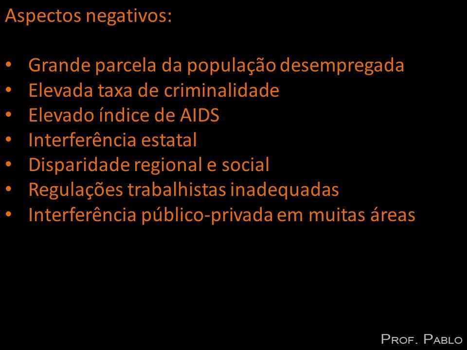 Aspectos negativos: Grande parcela da população desempregada. Elevada taxa de criminalidade. Elevado índice de AIDS.