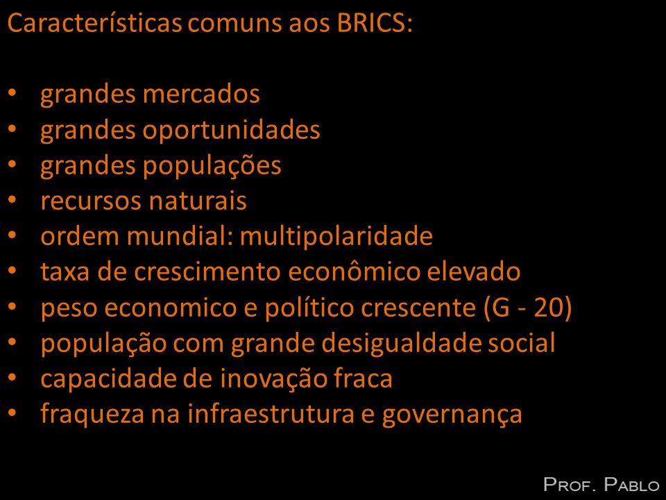Características comuns aos BRICS: