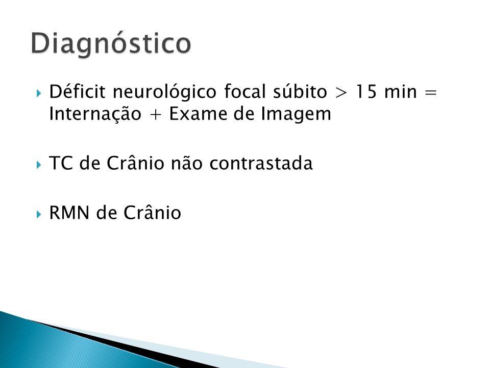Diagnóstico Déficit neurológico focal súbito > 15 min = Internação + Exame de Imagem. TC de Crânio não contrastada.