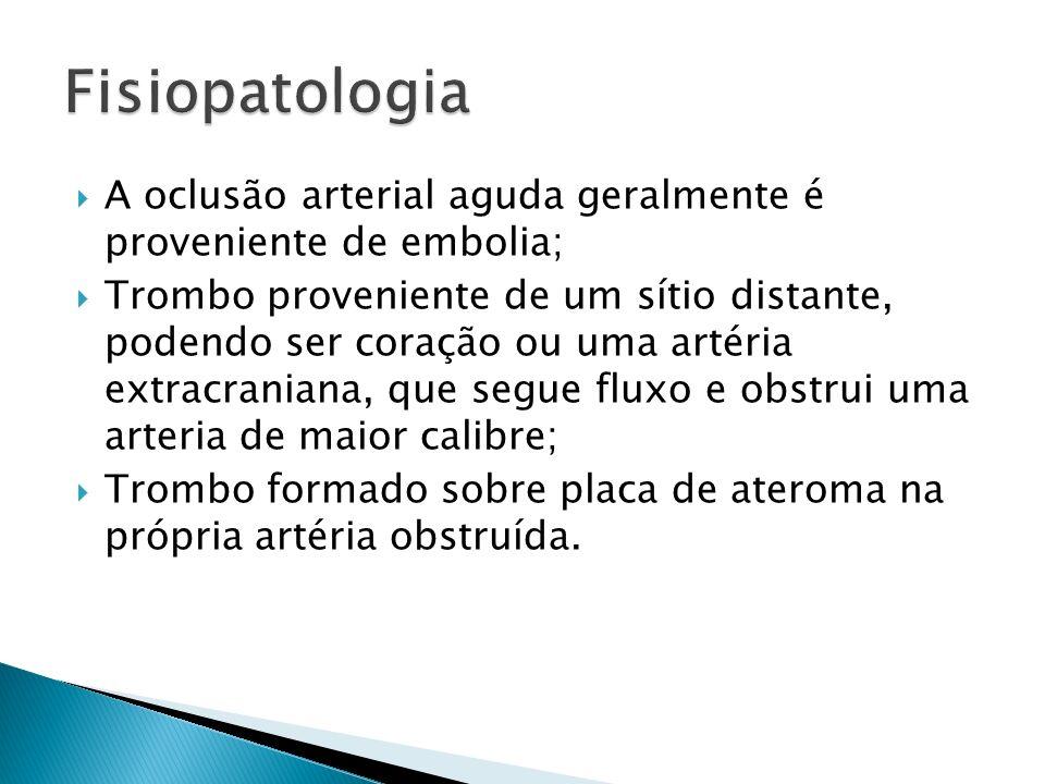 Fisiopatologia A oclusão arterial aguda geralmente é proveniente de embolia;
