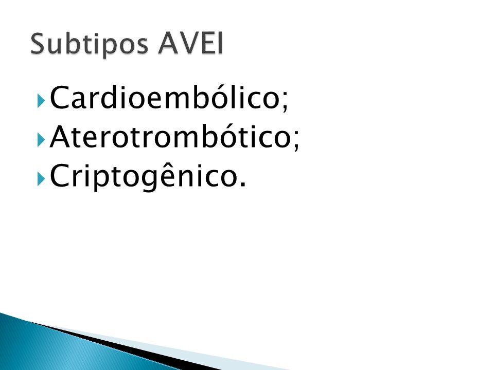 Subtipos AVEI Cardioembólico; Aterotrombótico; Criptogênico.