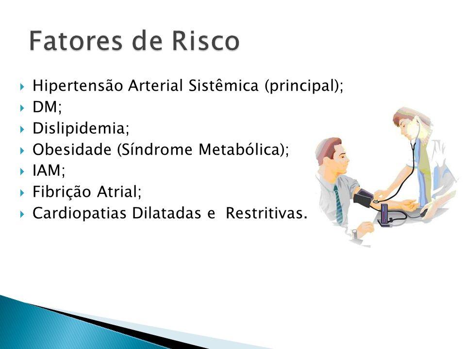 Fatores de Risco Hipertensão Arterial Sistêmica (principal); DM;