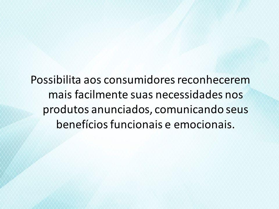 Possibilita aos consumidores reconhecerem mais facilmente suas necessidades nos produtos anunciados, comunicando seus benefícios funcionais e emocionais.