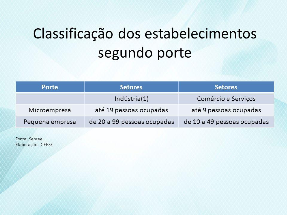 Classificação dos estabelecimentos segundo porte