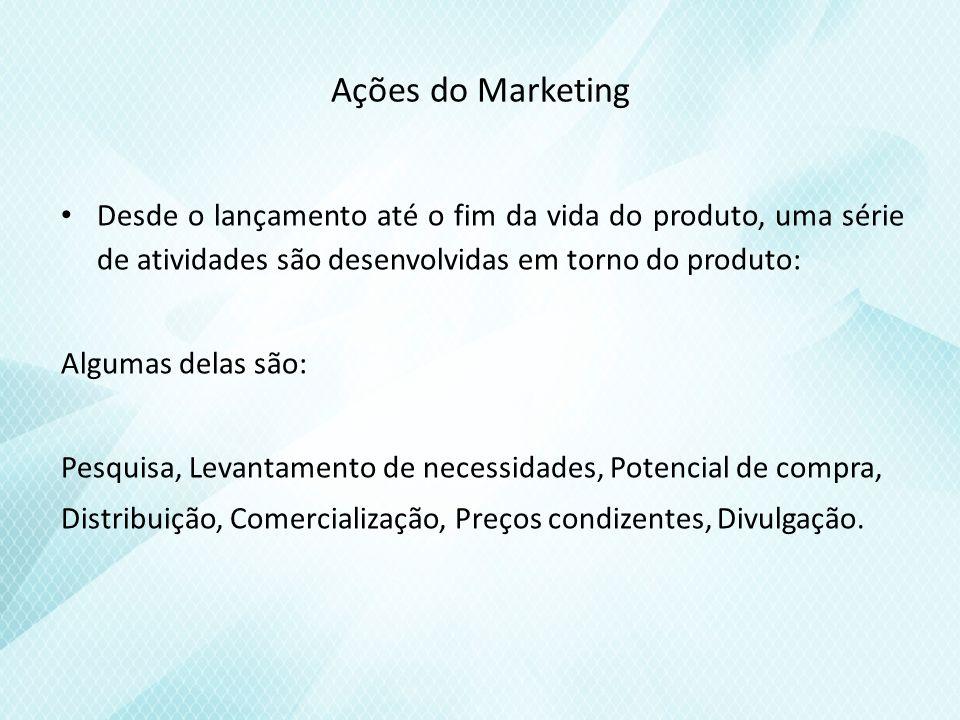 Ações do Marketing Desde o lançamento até o fim da vida do produto, uma série de atividades são desenvolvidas em torno do produto: