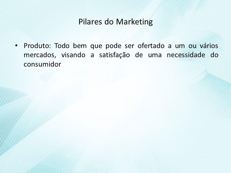 Pilares do Marketing Produto: Todo bem que pode ser ofertado a um ou vários mercados, visando a satisfação de uma necessidade do consumidor.