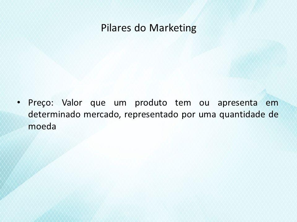 Pilares do Marketing Preço: Valor que um produto tem ou apresenta em determinado mercado, representado por uma quantidade de moeda.