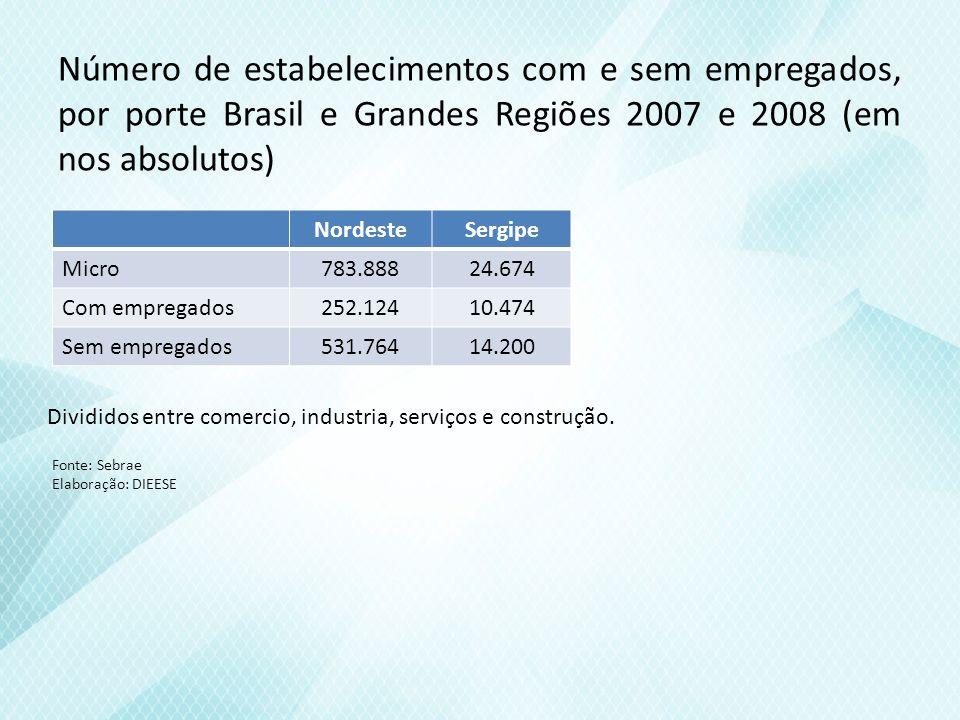 Número de estabelecimentos com e sem empregados, por porte Brasil e Grandes Regiões 2007 e 2008 (em nos absolutos)