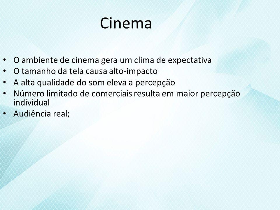 Cinema O ambiente de cinema gera um clima de expectativa