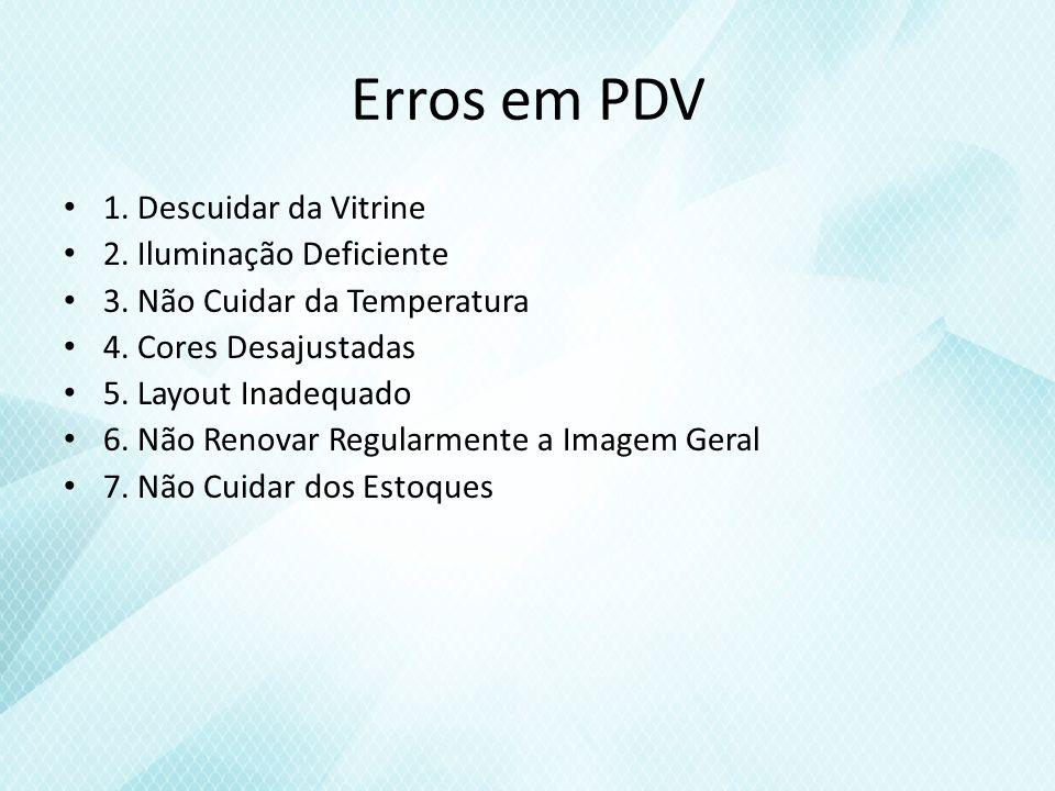 Erros em PDV 1. Descuidar da Vitrine 2. Iluminação Deficiente