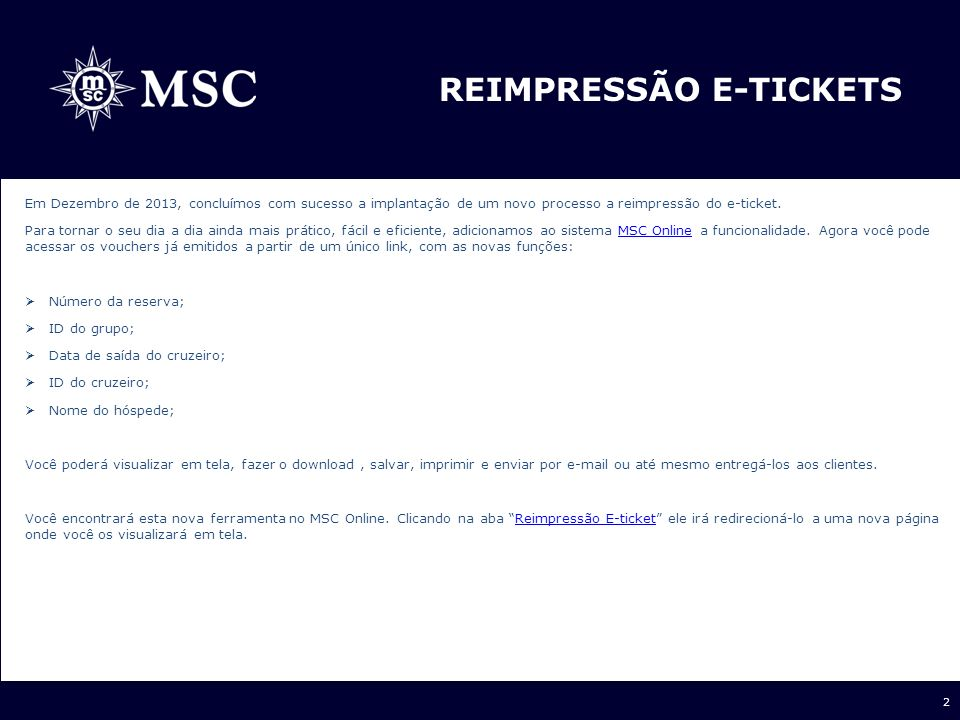 Reimpressão E-ticketS
