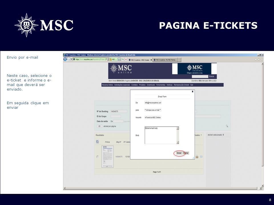 PAGINA E-TICKETS Envio por e-mail