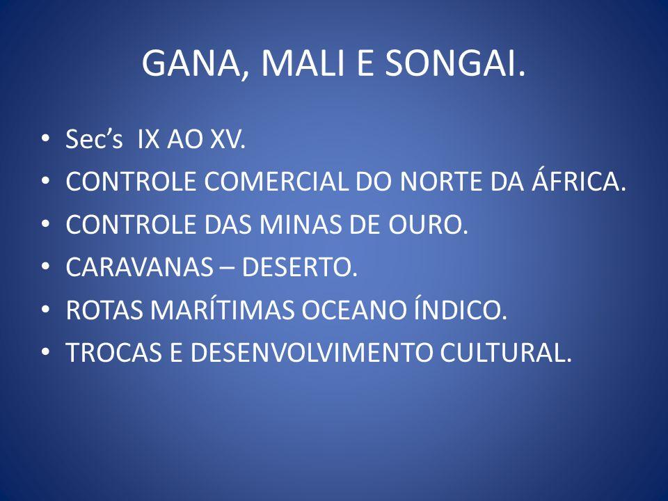 GANA, MALI E SONGAI. Sec's IX AO XV.