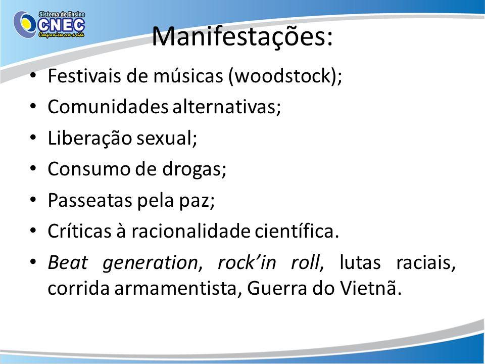 Manifestações: Festivais de músicas (woodstock);