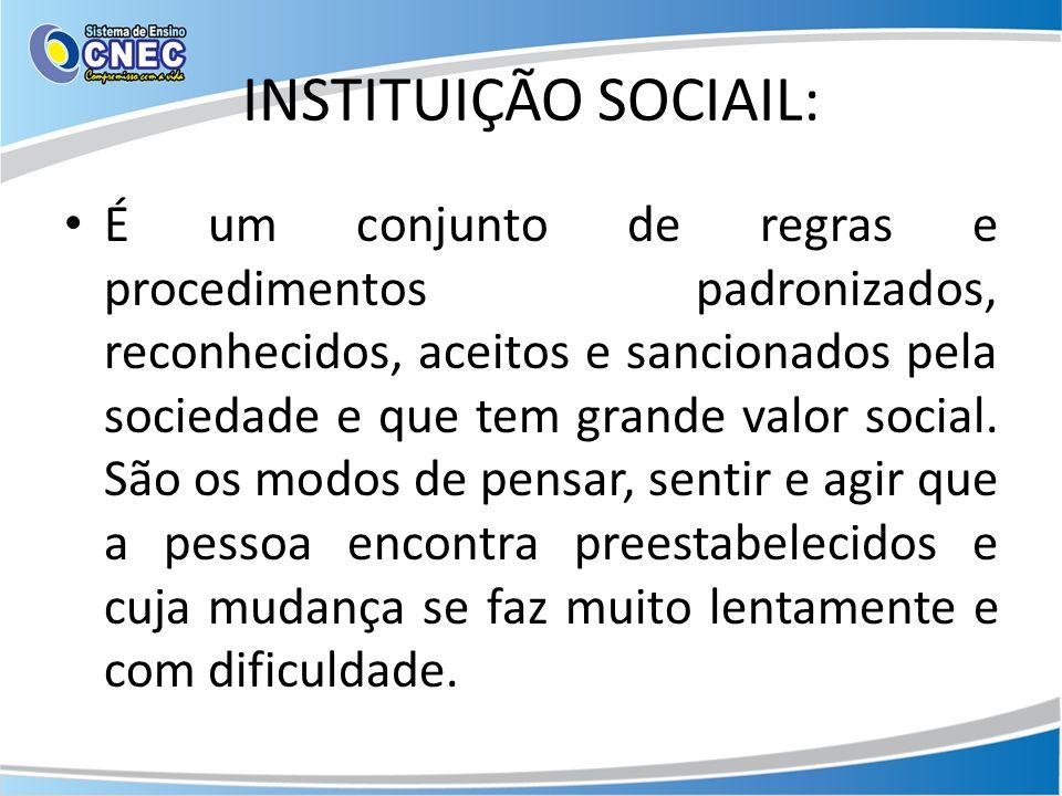INSTITUIÇÃO SOCIAIL:
