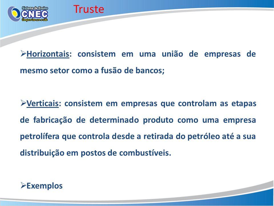 Truste Horizontais: consistem em uma união de empresas de mesmo setor como a fusão de bancos;