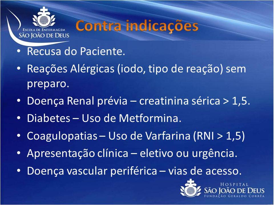 Contra indicações Recusa do Paciente.