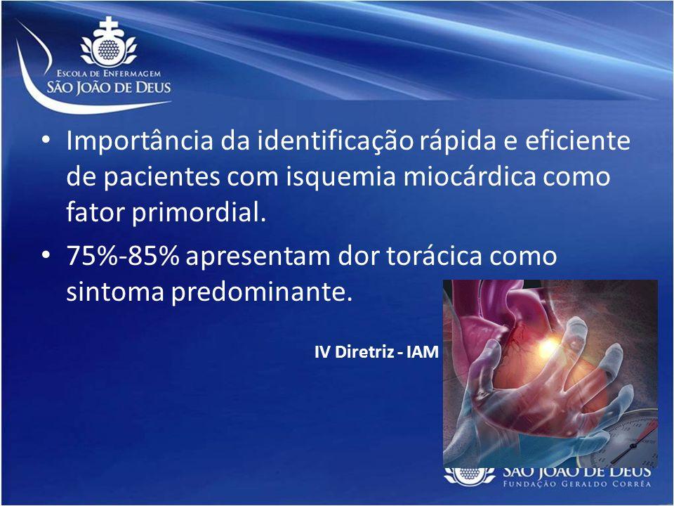 75%-85% apresentam dor torácica como sintoma predominante.