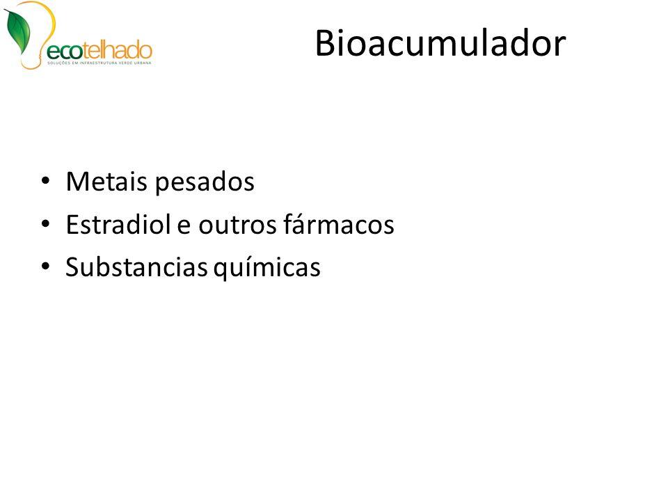 Bioacumulador Metais pesados Estradiol e outros fármacos