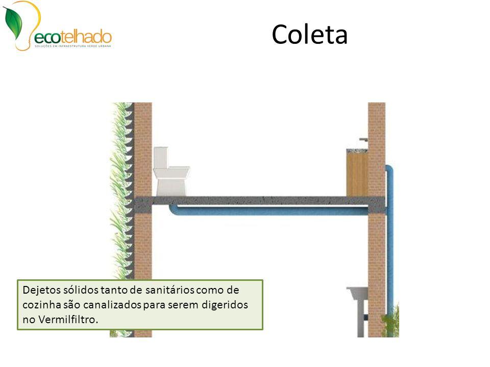 Coleta Dejetos sólidos tanto de sanitários como de cozinha são canalizados para serem digeridos no Vermilfiltro.