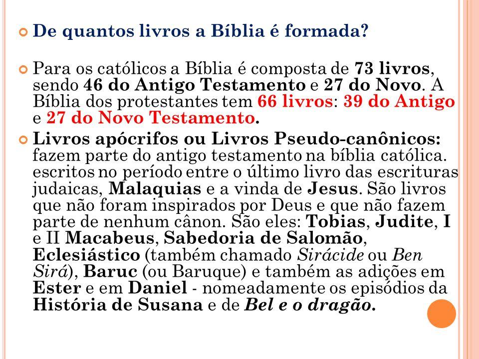 De quantos livros a Bíblia é formada