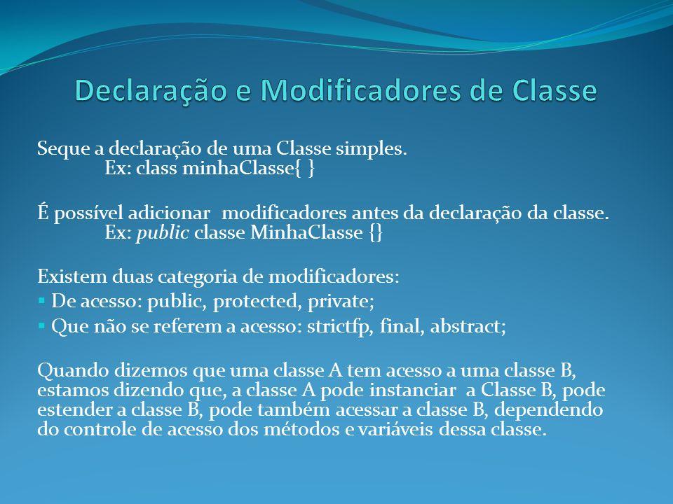 Declaração e Modificadores de Classe