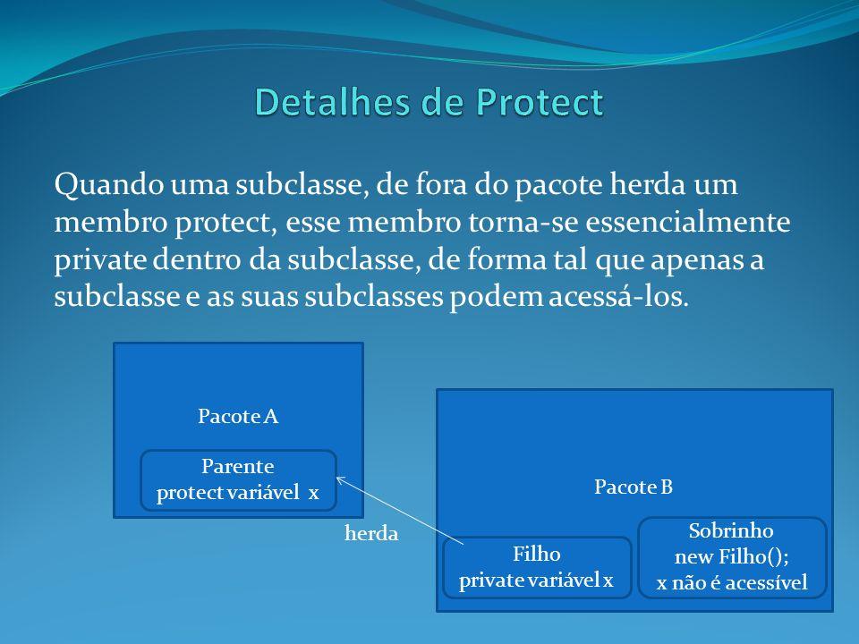 Parente protect variável x