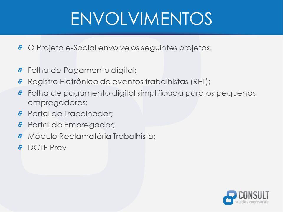 ENVOLVIMENTOS O Projeto e-Social envolve os seguintes projetos: