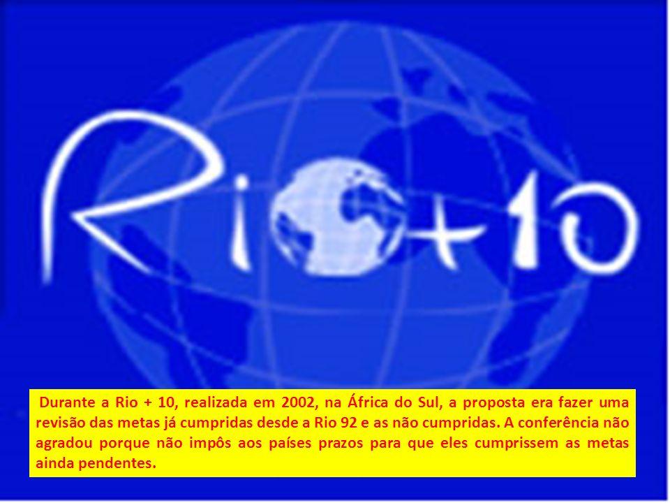 Durante a Rio + 10, realizada em 2002, na África do Sul, a proposta era fazer uma revisão das metas já cumpridas desde a Rio 92 e as não cumpridas.