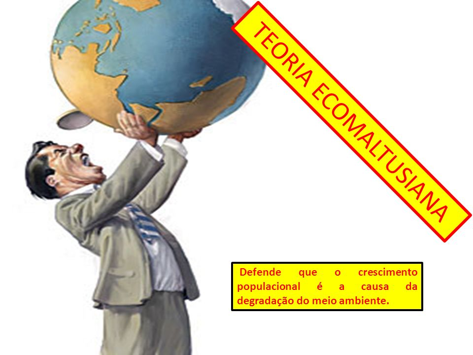 TEORIA ECOMALTUSIANA Defende que o crescimento populacional é a causa da degradação do meio ambiente.