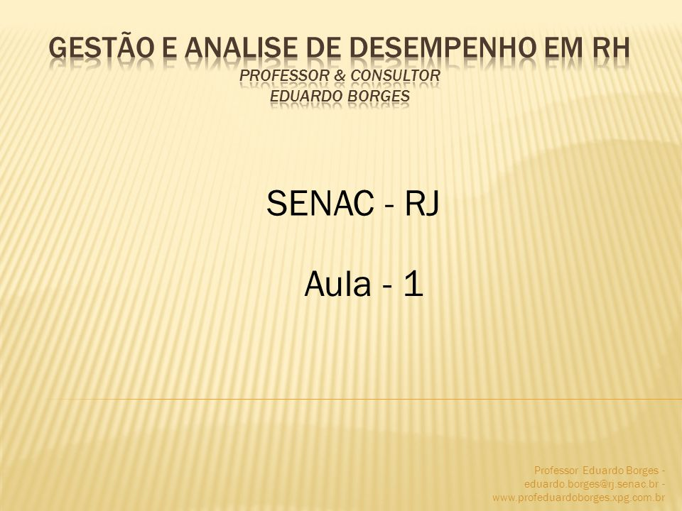 Gestão e analise de desempenho em rh Professor & consultor Eduardo Borges