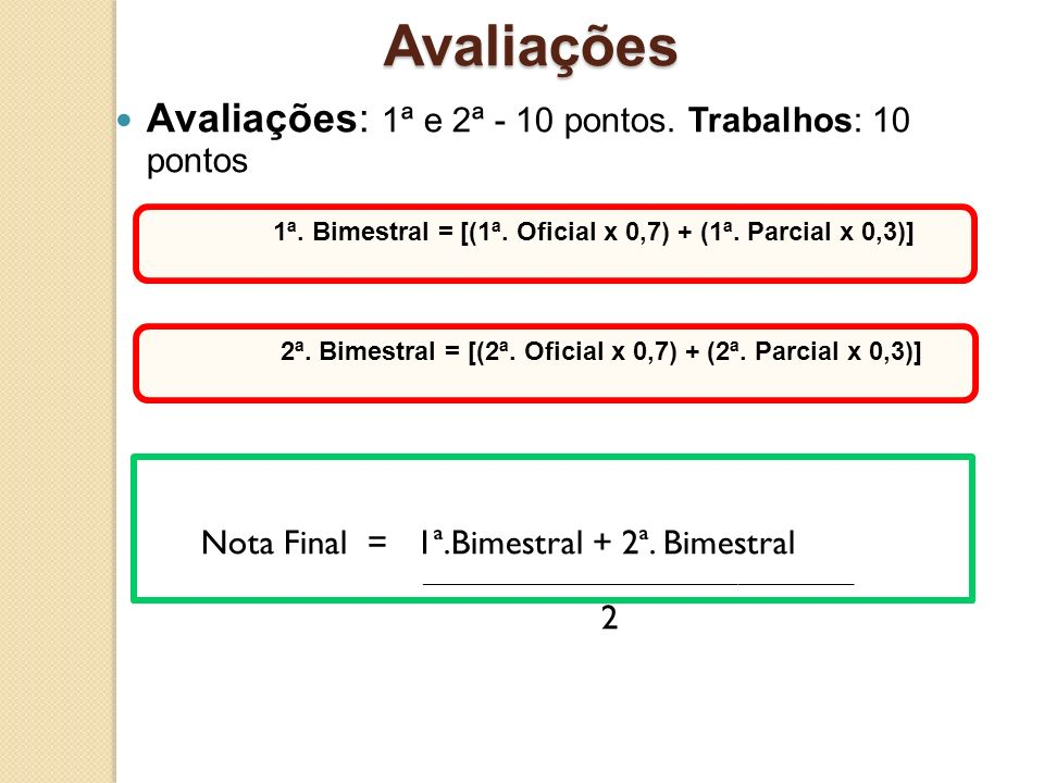 Avaliações Avaliações: 1ª e 2ª - 10 pontos. Trabalhos: 10 pontos