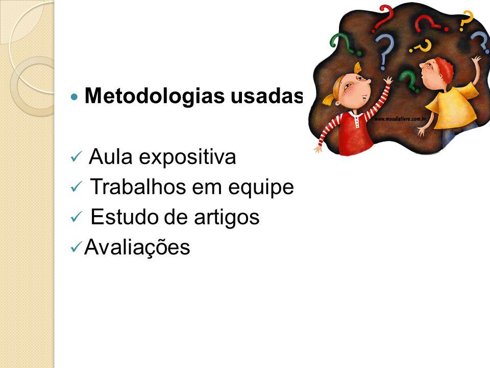 Metodologias usadas: Aula expositiva Trabalhos em equipe Estudo de artigos Avaliações