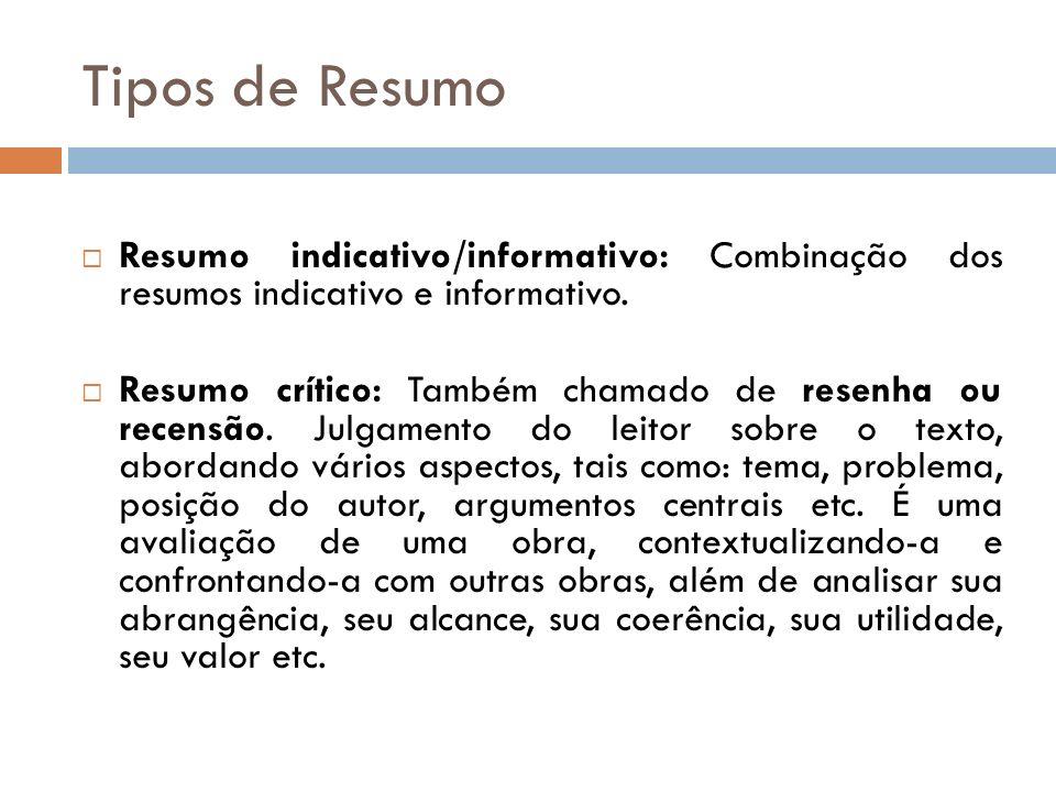 Tipos de Resumo Resumo indicativo/informativo: Combinação dos resumos indicativo e informativo.